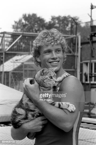 Michael Sundin gets to know the Blue Peter cat Jack in the Blue Peter garden at Television Centre in London Michael takes over as presenter on the...