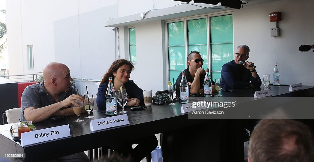 Ê (L-R) Michael Symon,Ê Alexandra Guarnaschelli, Marc Forgione,Êand Geoffrey Zakarian attends What It Takes To Be An Iron Chef at Hotel Victor on February 22, 2013 in Miami Beach, Florida.Ê