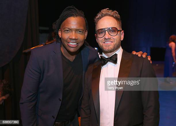 Michael Tait from muscial group Newsboys and Tobymac pose backstage during the 4th Annual KLOVE Fan Awards at The Grand Ole Opry House on June 5 2016...