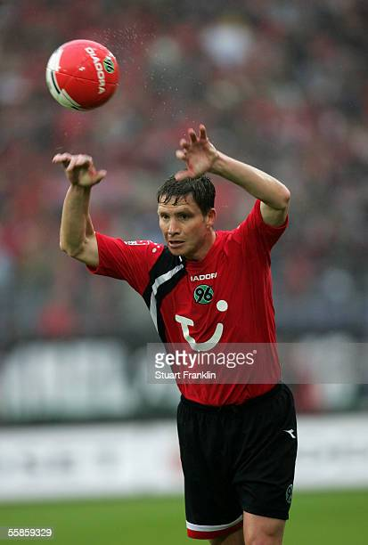 Michael Tarnat of Hannover 96 in action during the Bundesliga match between Hannover 96 and MSV Duisburg at the AWD Arena on October 1 2005 in...