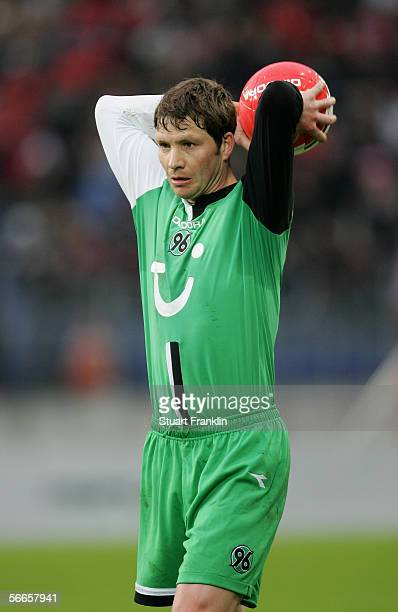 Michael Tarnat of Hanover in action during the friendly match between Hanover 96 and Grass Hopper Zurich at the AWD Arena on January 21 2006 in...
