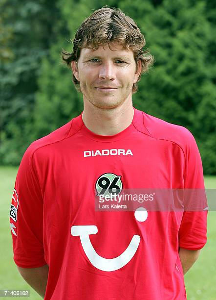 Michael Tarnat poses during the Bundesliga 1st Team Presentation of Hanover 96 on July 7 2006 in Bad Pyrmont Germany