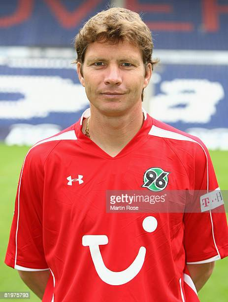 Michael Tarnat poses during the Bundesliga 1st Team Presentation of Hannover 96 at the AWD Arena on July 18 2008 in Hanover Germany