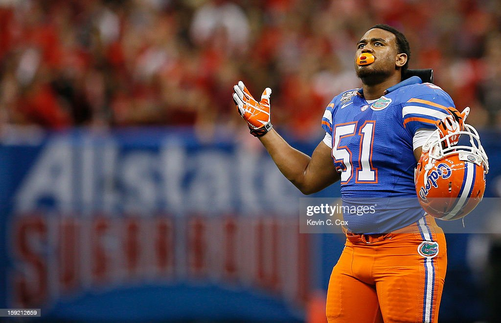 Michael Taylor #51 of the Florida Gators reacts during the Allstate Sugar Bowl against the Louisville Cardinals at Mercedes-Benz Superdome on January 2, 2013 in New Orleans, Louisiana.