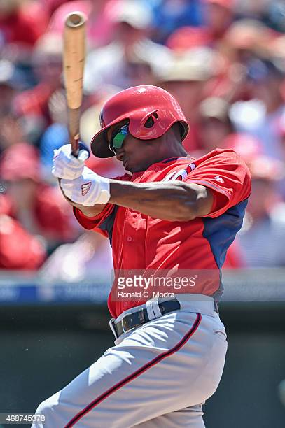 Michael Taylor of the Washington Nationals bats during a spring training game against the St Louis Cardinals on March 30 2015 at Roger Dean Stadium...