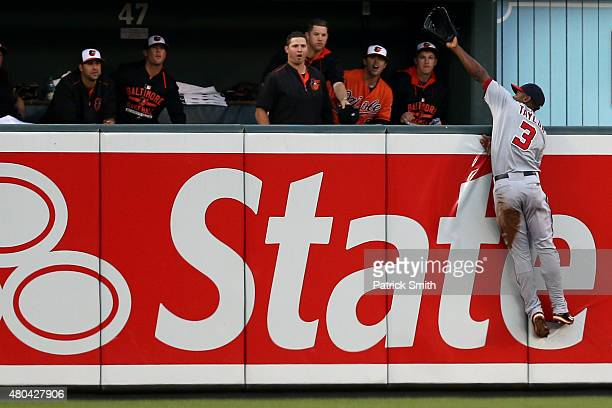 Michael Taylor of the Washington Nationals cannot make a catch on a two run home run hit by Caleb Joseph of the Baltimore Orioles in the second...