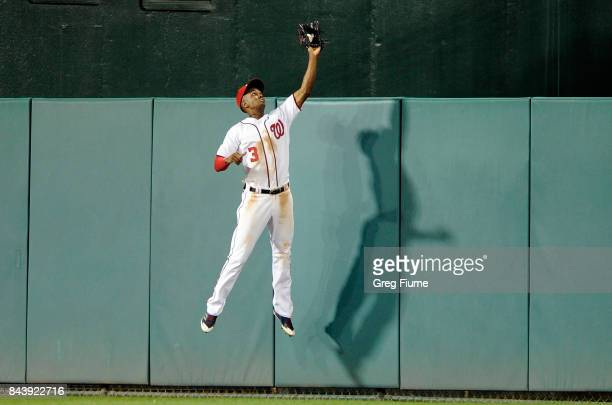 Michael Taylor of the Washington Nationals catches a fly ball hit by Andres Blanco of the Philadelphia Phillies in the seventh inning at Nationals...
