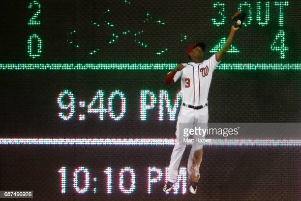 Michael Taylor of the Washington Nationals makes a catch to get out Jean Segura of the Seattle Mariners for the third out of the sixth inning at...