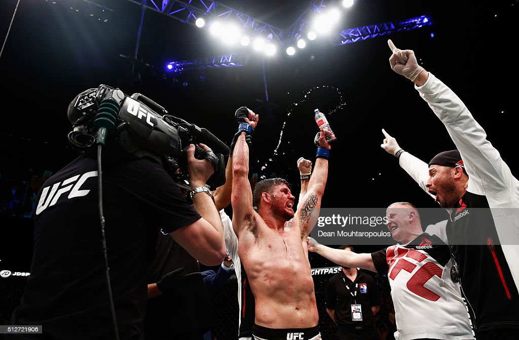 Michael 'The Count' Bisping of England celebrates after his victory over Anderson 'The Spider' Silva of Brazil in their Middleweight bout during the...