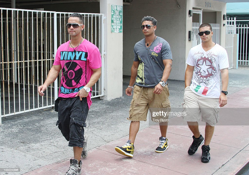 Michael 'The Situation' Sorrentino Paul 'Pauly D' Del Vecchio and Vinny Guadagnino are seen filming 'Jersey Shore' during the last day of filming in...