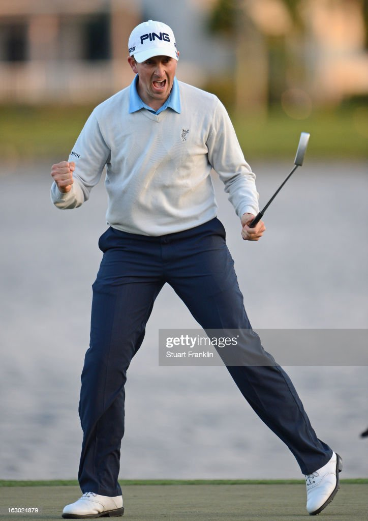 Michael Thompson of USA celebrates winning on the 18th hole during the final round of the Honda Classic on March 3, 2013 in Palm Beach Gardens, Florida.