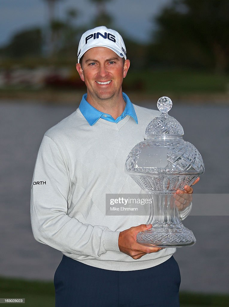 Michael Thompson poses with the trophy after winning the Honda Classic at PGA National Resort and Spa on March 3, 2013 in Palm Beach Gardens, Florida.