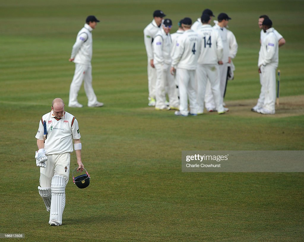 Michael Thornely of Leicestershire walks off after being caught behind during day two of the LV County Championship match between Hampshire and Leicestershire at The Ageas Bowl on April 11, 2013 in Southampton, England.