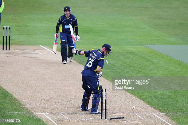 Michael Thornely of the Unicorns is bowled by Chaminda Vaas during the Clydesdale Bank Pro40 match between Northamptonshire and Unicorns at The...