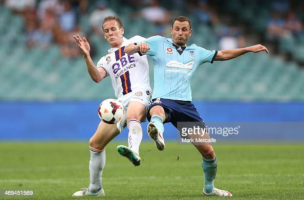 Michael Thwaite of the Glory and Ranko Despotovic of Sydney compete for the ball during the round 19 ALeague match between Sydney FC and Perth Glory...