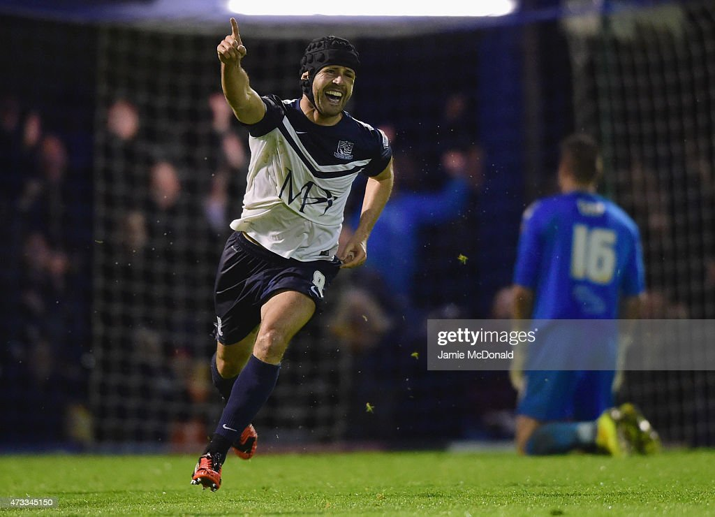 Michael Timlin of Southend United celebrates as he scores their third goal during the Sky Bet League Two Playoff semi final match between Southend...