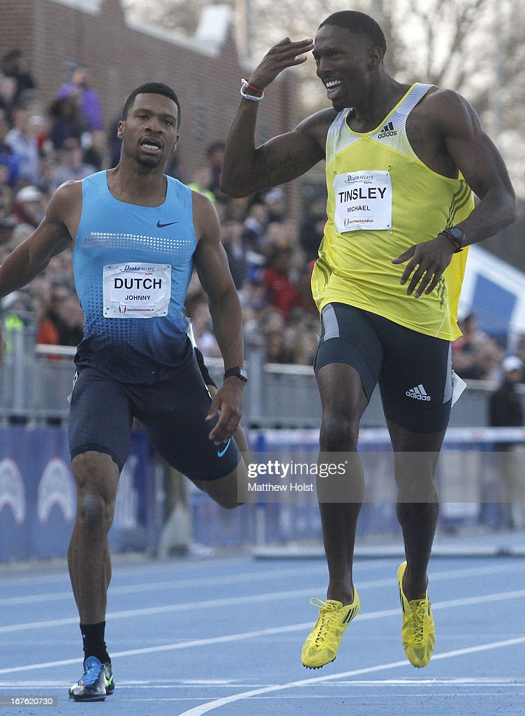 Michael Tinsley, of Adidas, edges out Johnny Dutch, of the United States, in the Men's 400 Meter Hurdles London Games Rematch at the Drake Relays, on April 26, 2013 at Drake Stadium, in Des Moines, Iowa.