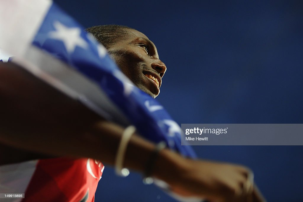 <a gi-track='captionPersonalityLinkClicked' href=/galleries/search?phrase=Michael+Tinsley&family=editorial&specificpeople=540794 ng-click='$event.stopPropagation()'>Michael Tinsley</a> of the United States celebrates after winning the silver medal in the Men's 400m Hurdles final on Day 10 of the London 2012 Olympic Games at the Olympic Stadium on August 6, 2012 in London, England.