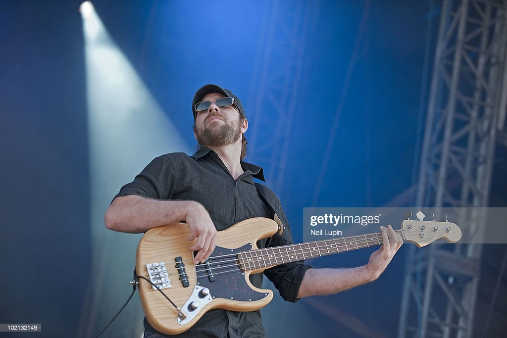Michael Todd of Coheed and Cambria performs on stage on the first day of the Download Festival at Donington Park on June 11, 2010 in Derby, England.