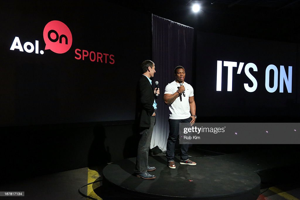 Michael Tollin and American football running back Ray Rice speak onstage at the AOL 2013 Digital Content NewFront on April 30, 2013 in New York City.