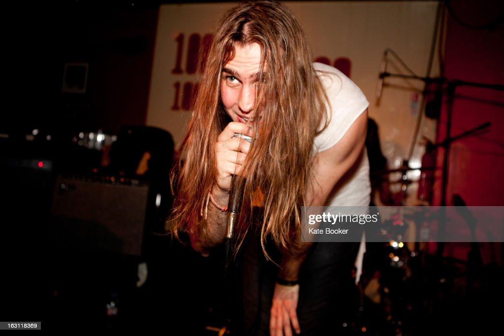 Michael Tomlinson of MT supporting Palma Violets performs on stage at The 100 Club on March 4, 2013 in London, England.