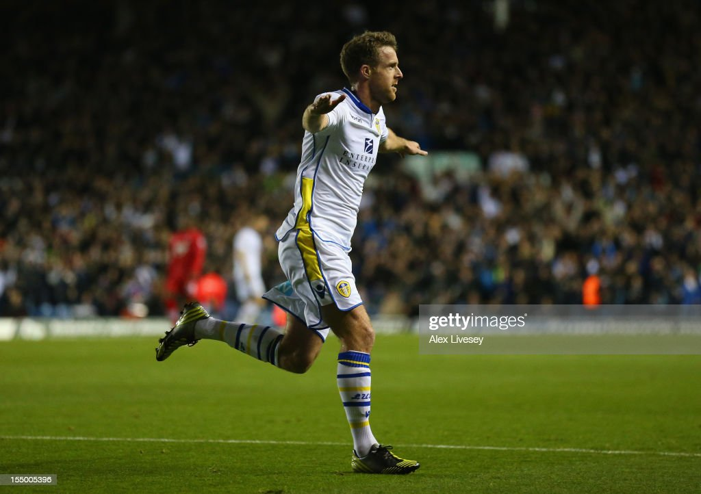 <a gi-track='captionPersonalityLinkClicked' href=/galleries/search?phrase=Michael+Tonge&family=editorial&specificpeople=196528 ng-click='$event.stopPropagation()'>Michael Tonge</a> of Leeds United celebrates scoring the opening goal during the Capital One Cup Fourth Round match between Leeds United and Southampton at Elland Road on October 30, 2012 in Leeds, England.