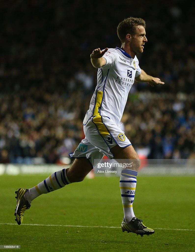 Michael Tonge of Leeds United celebrates scoring the opening goal during the Capital One Cup Fourth Round match between Leeds United and Southampton at Elland Road on October 30, 2012 in Leeds, England.