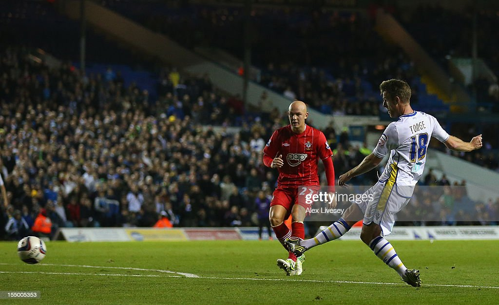 Michael Tonge of Leeds United scores the opening goal during the Capital One Cup Fourth Round match between Leeds United and Southampton at Elland Road on October 30, 2012 in Leeds, England.
