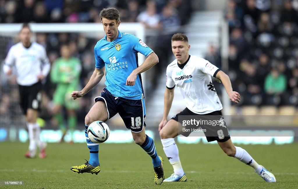 Michael Tongue of Leeds controls the ball under pressure from Jeff Hendrick of Derby during the npower Championship match between Derby County and Leeds United at Pride Park on December 8, 2012 in Derby, England.