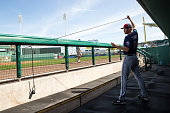 Michael Tonkin of the Minnesota Twins stretches against the Boston Red Sox during a spring training game on March 2 2016 at JetBlue Park in Fort...