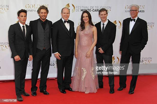 Michael Trevino Chad Michael Murray Prince Albert II of Monaco Madeleine Stowe Joseph Morgan and Ted Danson pose as they arrive at the Golden Nymph...