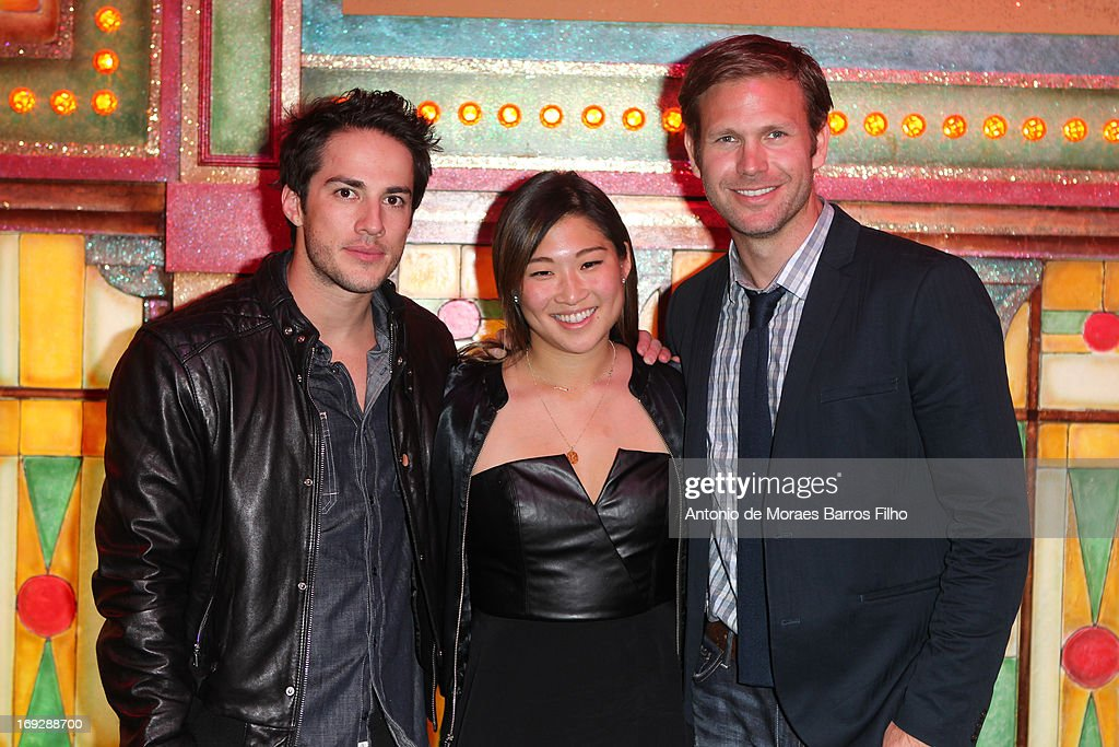 Michael Trevino, Jenna Ushkowitz and Matthew Davis pose backstage at Le Moulin Rouge on May 22, 2013 in Paris, France.