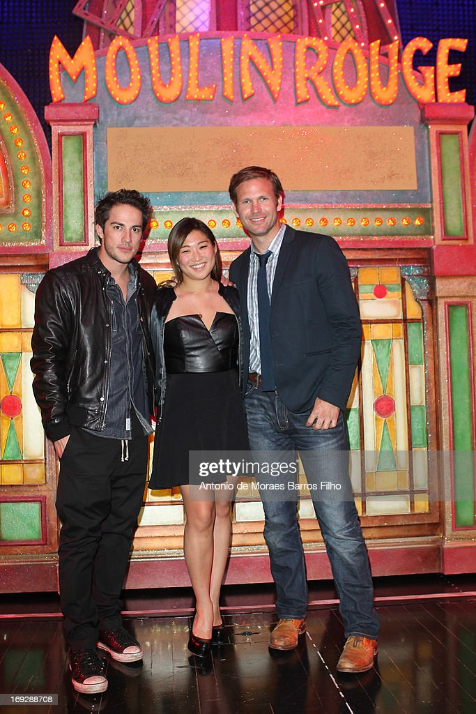 <a gi-track='captionPersonalityLinkClicked' href=/galleries/search?phrase=Michael+Trevino&family=editorial&specificpeople=4069456 ng-click='$event.stopPropagation()'>Michael Trevino</a>, <a gi-track='captionPersonalityLinkClicked' href=/galleries/search?phrase=Jenna+Ushkowitz&family=editorial&specificpeople=4863323 ng-click='$event.stopPropagation()'>Jenna Ushkowitz</a> and Matthew Davis pose backstage at Le Moulin Rouge on May 22, 2013 in Paris, France.