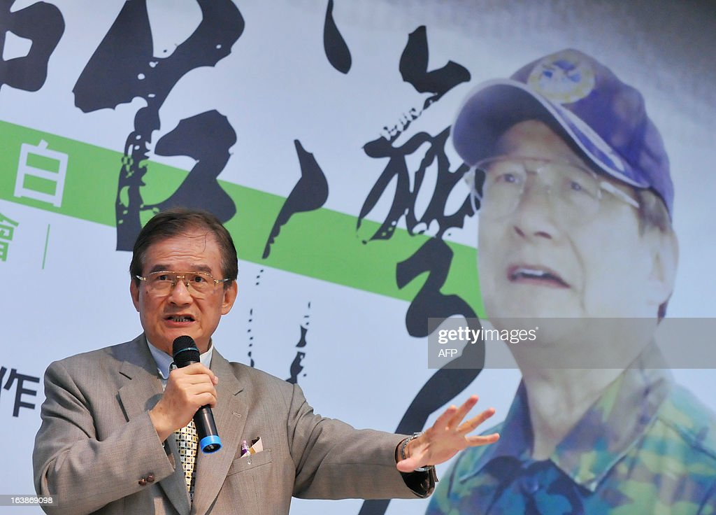 Michael Tsai, a politician turned defence minister in the former government of the China-sceptic Democratic Progressive Party (DPP), speaks during a press conference in Taipei on March 17, 2013. Taiwan has developed its first medium-range guided missile that could be used against former rival China, according to a former defence minister in a new book cited by a media report on March 17. AFP PHOTO / Mandy CHENG