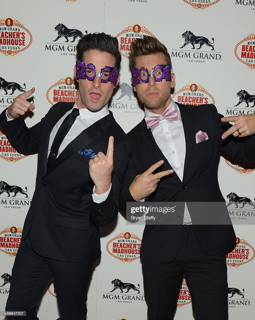 Michael Turchin (L) and singer Lance Bass arrive at the New Year's Eve 2014 celebration at Beacher's Madhouse Las Vegas at the MGM Grand Hotel/Casino on December 31, 2013 in Las Vegas, Nevada.