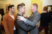 Ê Michael Turchin Lance Bass Jesse Tyler Ferguson and Barrett Foa attend Tie The Knot PopUp Store at The Beverly Center on December 5 2013 in Los...