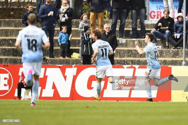 Michael Uhre of Sonderjyske celebrate after their third goal during the Danish Alka Superliga match between SonderjyskE and FC Midtjylland at Sydbank...