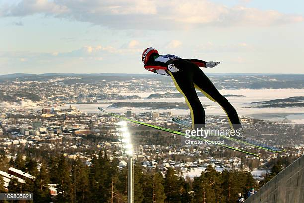 Michael Uhrmann of Germany competes in the Men's Ski Jumping Team HS134 competition during the FIS Nordic World Ski Championships at Holmenkollen on...