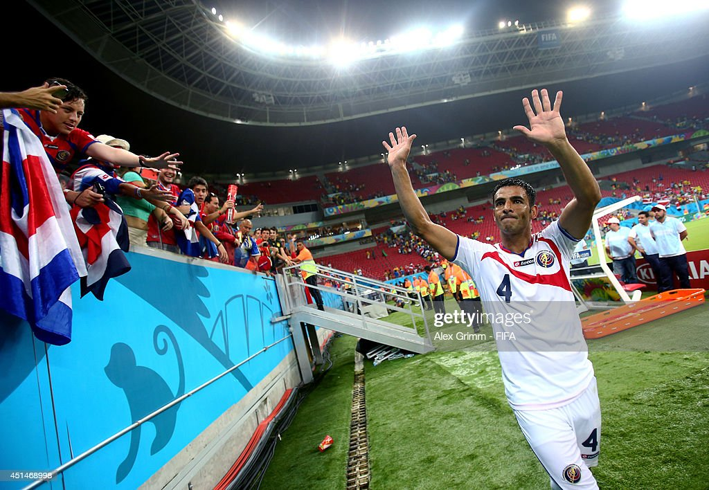 Michael Umana of Costa Rica applauds the fans after the 2014 FIFA World Cup Brazil Round of 16 match between Costa Rica and Greece at Arena Pernambuco on June 29, 2014 in Recife, Brazil.
