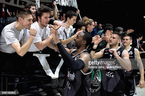 Michael Umeh and Gabriele Spizzichini and Danilo Petrovic of Segafredo celebrates during the match of LNP LegaBasket Serie A2 between Virtus...