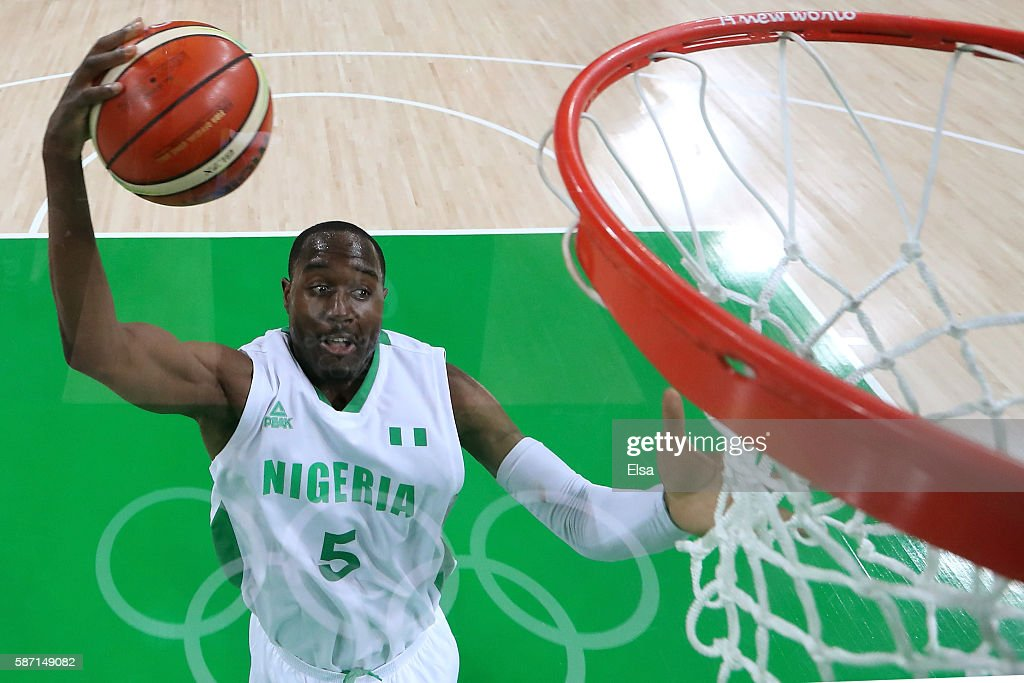 Michael Umeh of Nigeria puts up a shot during a Men's preliminary round basketball game between Nigeria and Argentina on Day 2 of the Rio 2016 Olympic Games at Carioca Arena 1 on August 7, 2016 in Rio de Janeiro, Brazil.