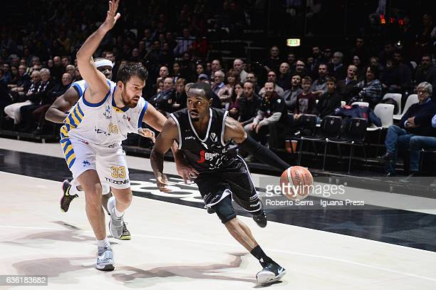 Michael Umeh of Segafredo competes with David Brkic of Tezenis during the match of LNP LegaBasket Serie A2 between Virtus Segafredo Bologna and...
