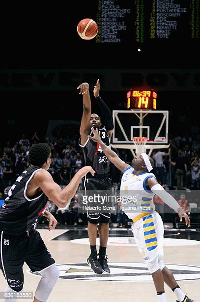 Michael Umeh of Segafredo competes with Dawan Robinson of Tezenis during the match of LNP LegaBasket Serie A2 between Virtus Segafredo Bologna and...