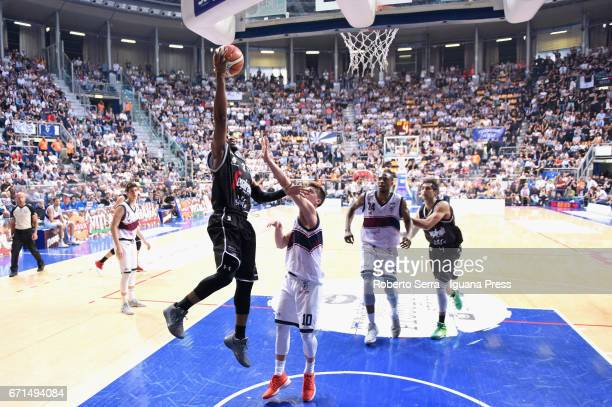 Michael Umeh of Segafredo competes with Leonardo Candi and Michele Ruzzier and Justin Knox of Kontatto during the LegaBasket LNP of serie A2 match...