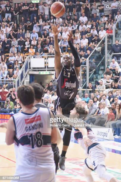 Michael Umeh of Segafredo competes with Luca Gandini and Matteo Montano of Kontatto during the LegaBasket LNP of serie A2 match between Fortitudo...