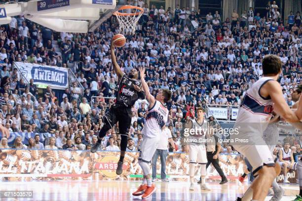 Michael Umeh of Segafredo competes with Michele Ruzzier and Leonardo Candi of Kontatto during the LegaBasket LNP of serie A2 match between Fortitudo...