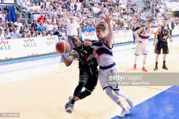 Michael Umeh of Segafredo competes with Michele Ruzzier of Kontatto during the LegaBasket LNP of serie A2 match between Fortitudo Kontatto Bologna...