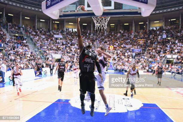 Michael Umeh of Segafredo competes with Stefano Mancinelli of Kontatto during the LegaBasket LNP of serie A2 match between Fortitudo Kontatto Bologna...