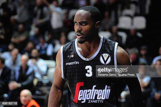 Michael Umeh of Segafredo looks over during the match of LNP LegaBasket Serie A2 between Virtus Segafredo Bologna and Scaligera Tezenis Verona at...
