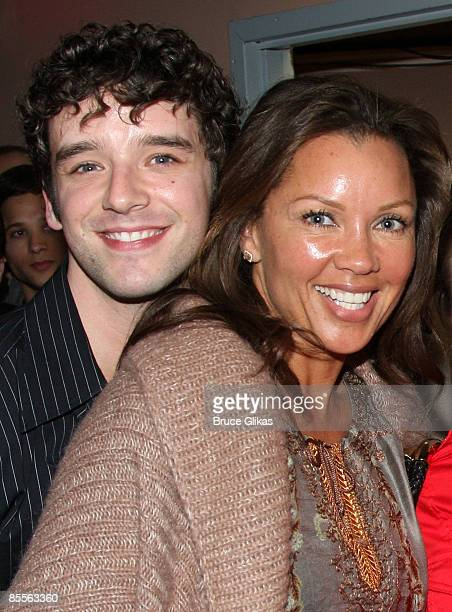 Michael Urie and Vanessa Williams pose backstage at 'West Side Story' on Broadway at the Palace Theatre on March 21 2009 in New York City